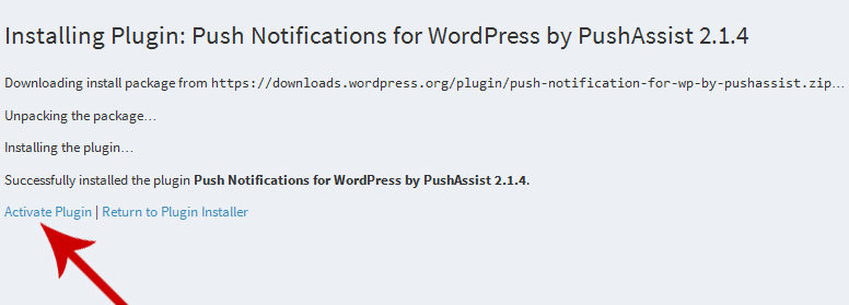 PushAssist WordPress Activation