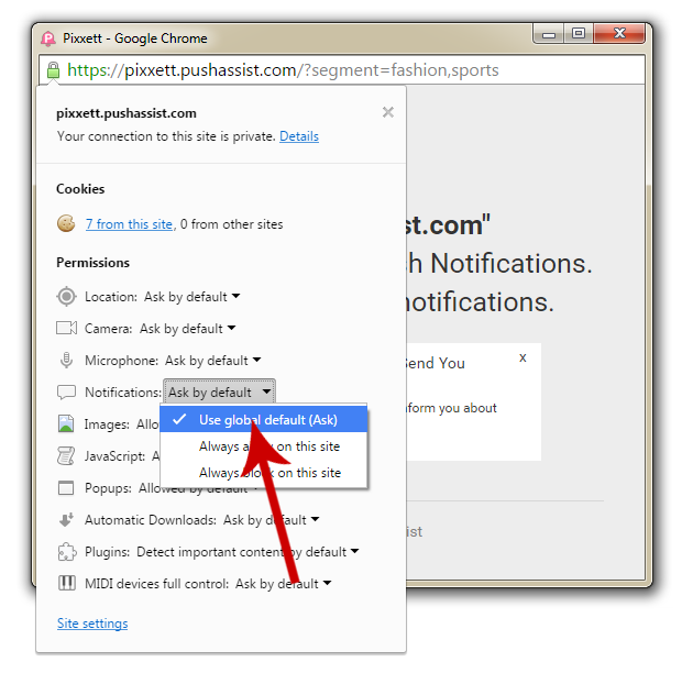 Enable Chrome Push Notification