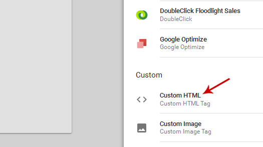 Choose Custom HTML Tag in Google Tag Manager
