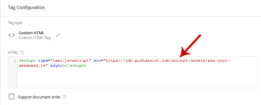 Adding PushAssist JS under Custom HTML Tag in Google Tag Manager