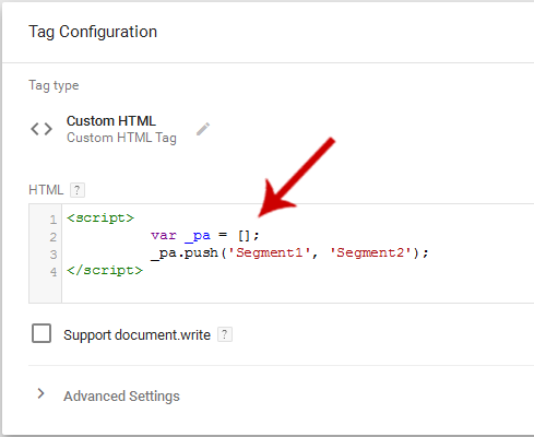 Adding PushAssist Segment JS under Custom HTML Tag in Google Tag Manager