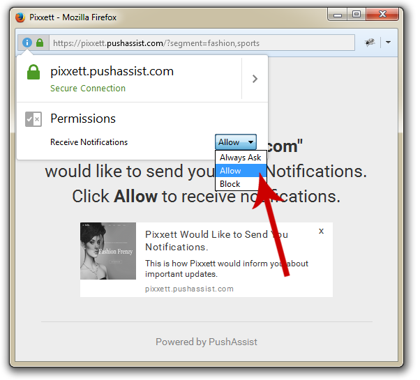 Enable Firefox Push Notification